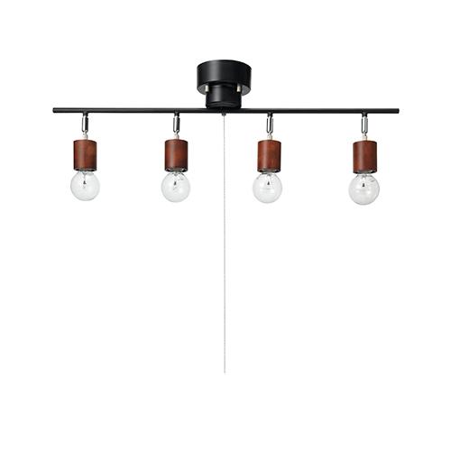 電設資材 照明 シーリングライト ヤザワコーポレーション:ウッドヌード球無し4灯シーリングライト 型式:Y07CEX60X01DW 有名な 1着でも送料無料