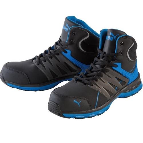 作業用品 公式ストア 作業靴 PUMA:ヴェロシティ 新着セール 2.0 ブルー ミッド 型式:63.341.0-26.0
