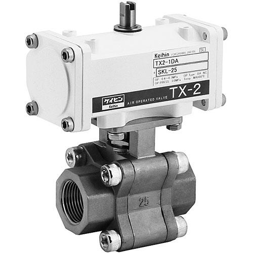 ケイヒン:TX2シリーズ 水・油・空気・ガス(複動型空気圧操作式ボール弁) 型式:TX2-2DA+SKL-32
