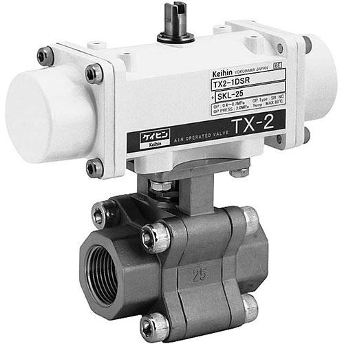 ケイヒン:TX2シリーズ 水・油・空気・他(スプリングリターン型空気圧操作式ボール弁) 型式:TX2-1DSR+SKL-15