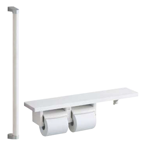 TOTO:紙巻器一体型 手すり・棚別体タイプ(R/L兼用) 型式:YHB61FLC#NW1