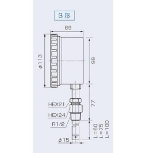 山本計器製造:温圧計(屋内外兼用) 型式:F214