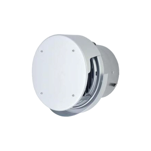 メルコエアテック:丸形防風板付ベントキャップ(覆い付・ワイド水切タイプ)縦ギャラリ・防火ダンパー付 型式:AT-200TCWAJD