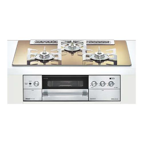 リンナイ:ビルトインガスコンロ デリシア 3V乾電池タイプ コンロ+オーブン設置用 型式:RHS71W22E3R2D-STW LPG