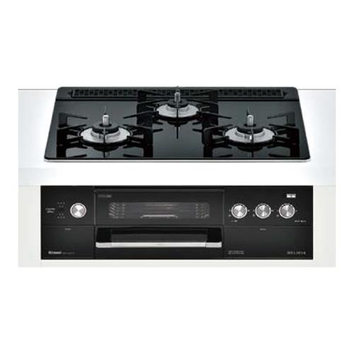 リンナイ:ビルトインガスコンロ デリシア 3V乾電池タイプ コンロ+オーブン設置用 ホーローごとくタイプ 型式:RHS31W22E1R2D-BW 12A・13A