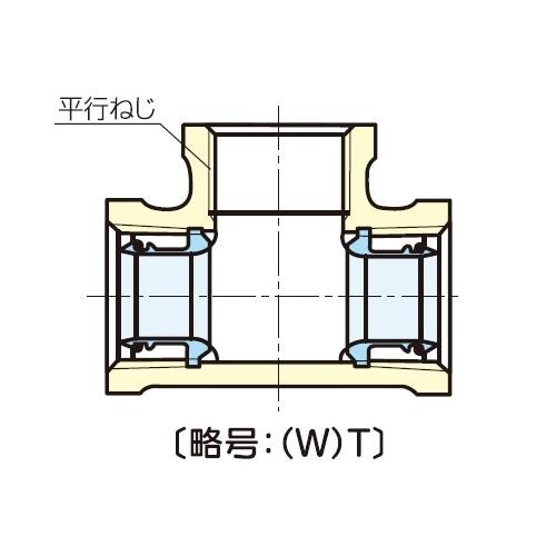 JFE継手:青銅コア継手(屋内配管用) 水栓チー (お買い得パック) 型式:(W)T-1x3/4(1セット:20個入)