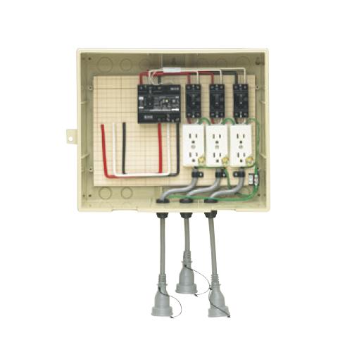 未来工業:屋外電力用仮設ボックス(漏電しゃ断器・分岐ブレーカ・コンセント内蔵) 型式:14-33CBL