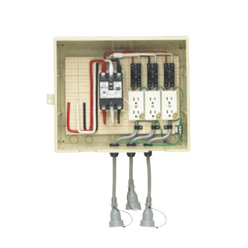 未来工業:屋外電力用仮設ボックス(漏電しゃ断器・分岐ブレーカ・コンセント内蔵) 型式:14-33CB5L