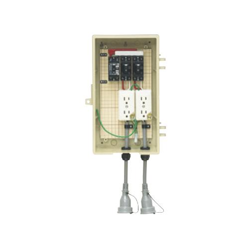 未来工業:屋外電力用仮設ボックス(漏電しゃ断器・分岐ブレーカ・コンセント内蔵) 型式:3A-22CBT