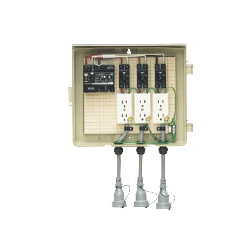 未来工業:屋外電力用仮設ボックス(漏電しゃ断器・分岐ブレーカ・コンセント内蔵) 型式:3-33CB