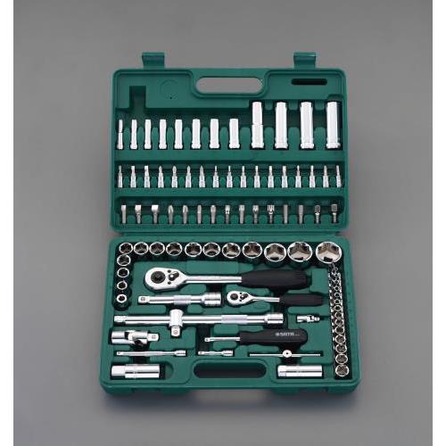 """エスコ:1/4""""・1/2""""DR ソケットレンチセット 型式:EA687DD"""