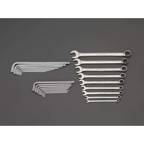 エスコ:27個組 片目片口スパナ&六角棒レンチセット(トレー) 型式:EA687YA-16