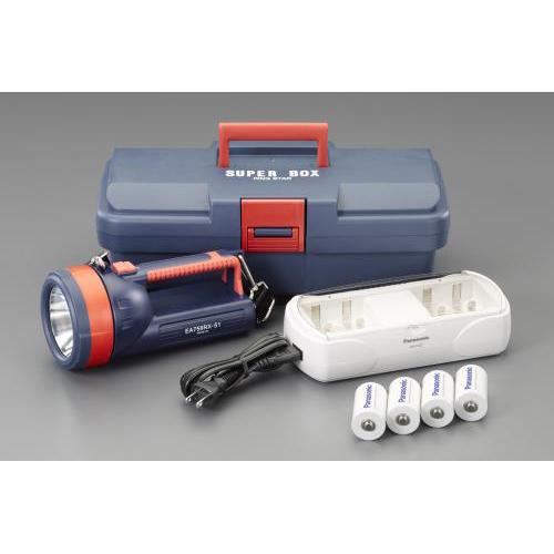 エスコ:[単1x4本] フラッシュライト/LED(充電池セット) 型式:EA758RX-751