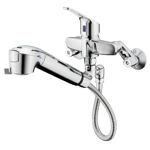 タカギ:壁出し混合水栓(引出型) 型式:JL337MK-01(寒冷地用)