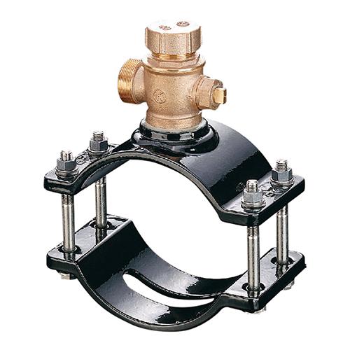 光明製作所:協会型 ボール式 サドル付分水栓 型式:SB-101-AS-300x25