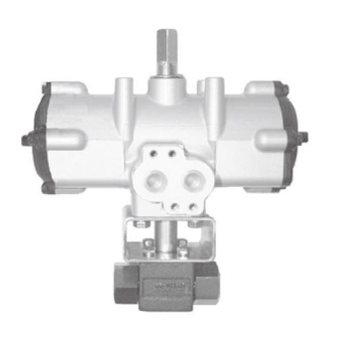 国内調達品:エアーロータリーアクチュエータ操作式ねじ込み形2ポートボールバルブ 型式:BV-T01-21-TAK