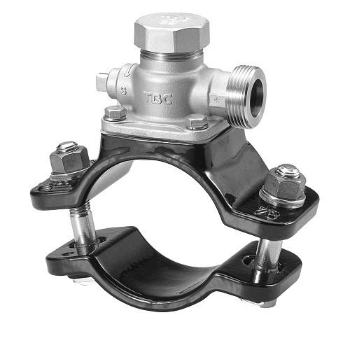 タブチ:SUS製サドル分水栓鋳鉄管用 型式:100X25BXF-S