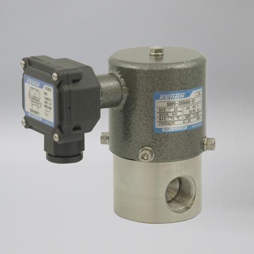 ケイヒン:SSPDシリーズ 空気用 (超高圧電磁弁) 型式:SSPD-25GUKD-01 (AC200V)