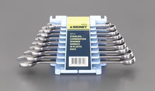 人気 チタン工具、ステンレス工具 ステンレス工具 エスコ ESCO 9本組 片目片口スパナセット 超人気 専門店 EA614CS