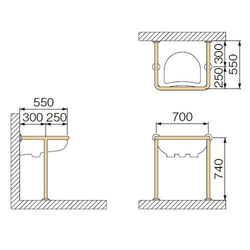 ミヤコ 洗面器手洗器被覆手摺 MB160HS ベージュ