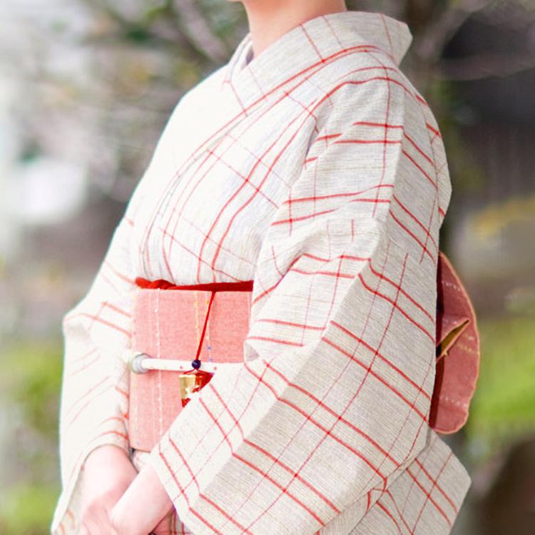 【受注生産】 No.77 単衣きもの《仕立代込み》生成り絣にざっくり赤黄格子 木綿 阿波しじら織り 着物
