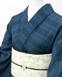 阿波しじら織り 木綿 着物 単衣きもの《仕立代込み》青と紺の絣格子 着物 No.78【受注生産 木綿 No.78】, 北欧雑貨byPOS:6d7dff1d --- municipalidaddeprimavera.cl