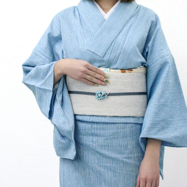 【受注生産】 単衣きもの《仕立代込み》瓶覗色に白藍細縞 木綿 着物 No.H6 阿波しじら織り
