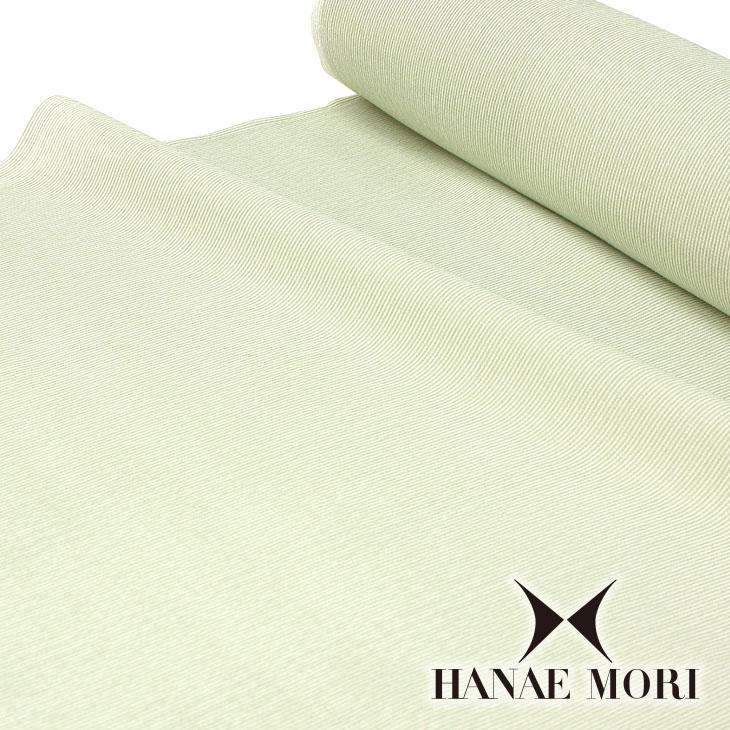 夏物 ハナエモリ 洗える着物・羽織 道中着 お仕立て代込み 単衣着物 洗える夏着物 小紋 反物 緑と白の千筋縞【TY】