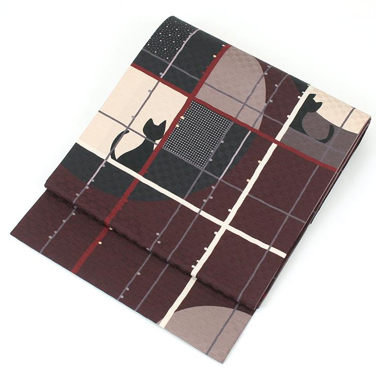 【送料無料】正絹 お仕立て上がり 染京袋帯 全通柄 かくれんぼネコ(ボルドー)No.TK15-Aお太鼓