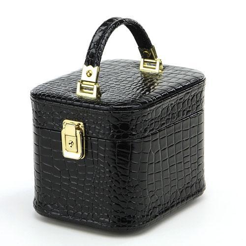 hair-higaki: Mini makeup box crocodile vertical trench luxury black gold mirror with case with mirror vanity cosmetic box trenches 20 cm | Rakuten Global ...