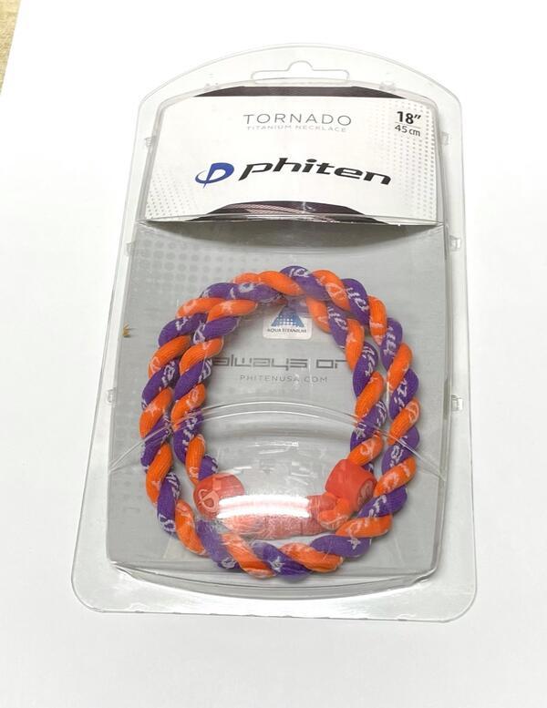 ファイテン RAKUWAネック2つ編みタイプ 永遠の定番モデル 海外 トルネード パープル 45cm オレンジ