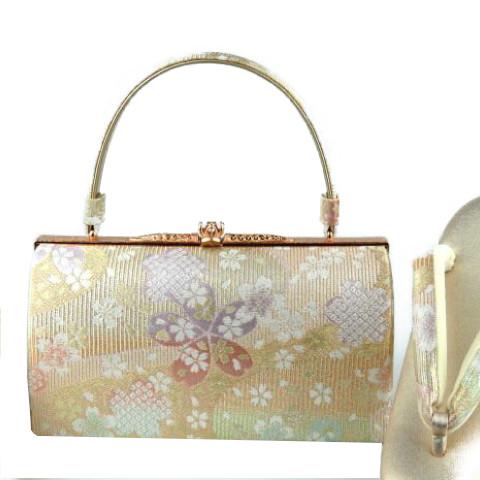礼装バッグセット 着物用バッグセット。上品な金地の織柄 礼装用にどうぞ。(M,L)