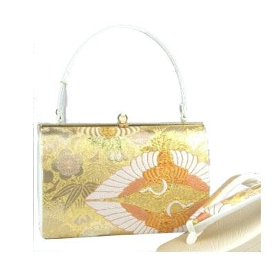 礼装バッグセット 着物用バッグセット。上品な金地の帯地織柄 礼装用にどうぞ。(L)