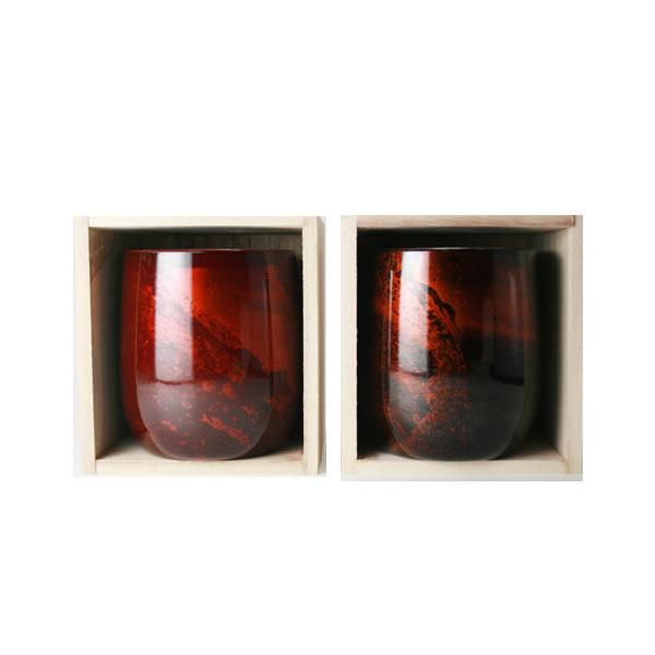 漆磨 SHIMA 2色 ペアセット 2重構造 ロックカップ ダルマ [ 日本酒 酒器 ぐい呑み 焼酎 グラス ビアカップ ][ グルメ 誕生日 プレゼント 内祝い 記念品 ]