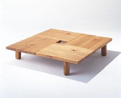 森のことば 飛騨産業 センターテーブル フロアテーブル リビングテーブル 正方形 ナラ材 ホワイトオーク キツツキ オイル塗装 100x100 120x120 高さ34.5 SN151T SN161T
