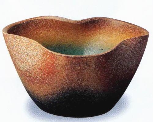 ◎信楽焼 火色窯肌三方曲げ水鉢【r115-2】