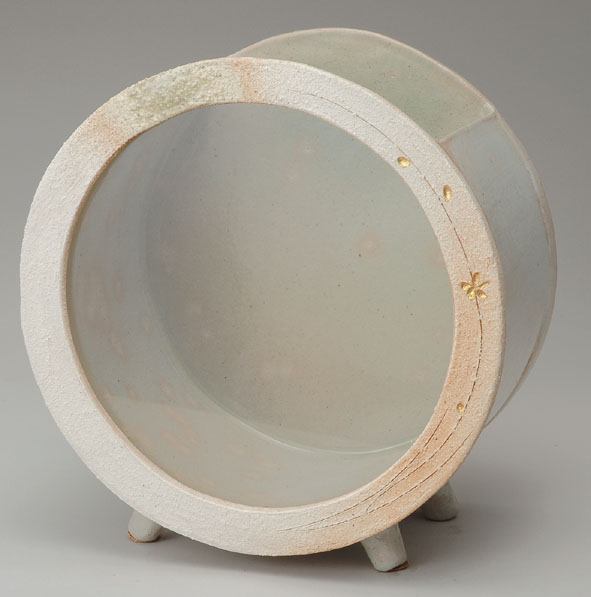 信楽焼 白金彩丸水槽(大)【541-02】【日本製】