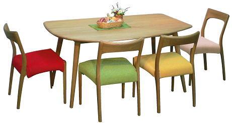 ナラ無垢材 幅150cm 変形ダイニング5点セット 木製 オーク材 北欧 ダイニングテーブルセット 食卓セット 食卓テーブルセット カフェダイニング(おうちカフェ) 変形テーブルの4人掛け ダイニングセット カバーリングのチェア(ダイニングチェア)クローバー