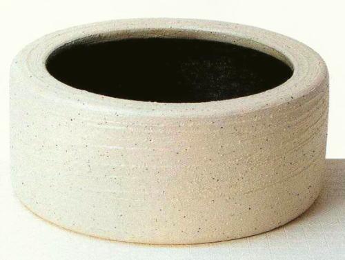 ◎信楽焼 白みかげ切立水鉢【r115-3】