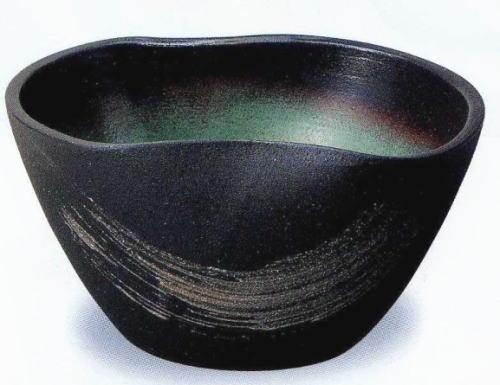 ◎信楽焼 刷毛目二方曲げ水鉢【r115-4】