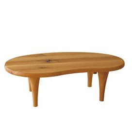 森のことば 飛騨産業 センターテーブル リビングテーブル ビーンズ形 ナラ材 ホワイトオーク キツツキ オイル塗装 110x66.5cm 高さ34.5 39.5cm SN116T SN116H