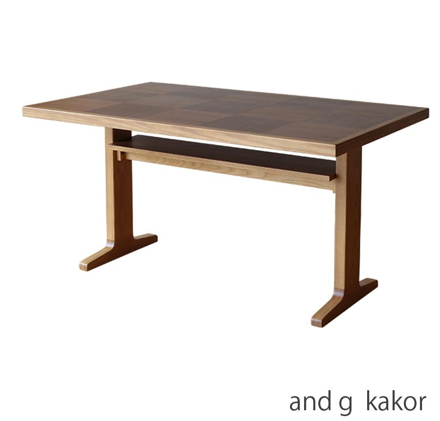 and g アンジー kakor カーカ テーブル ダイニングテーブル 食卓テーブル ラック付き アッシュ ウォールナット 幅130cm