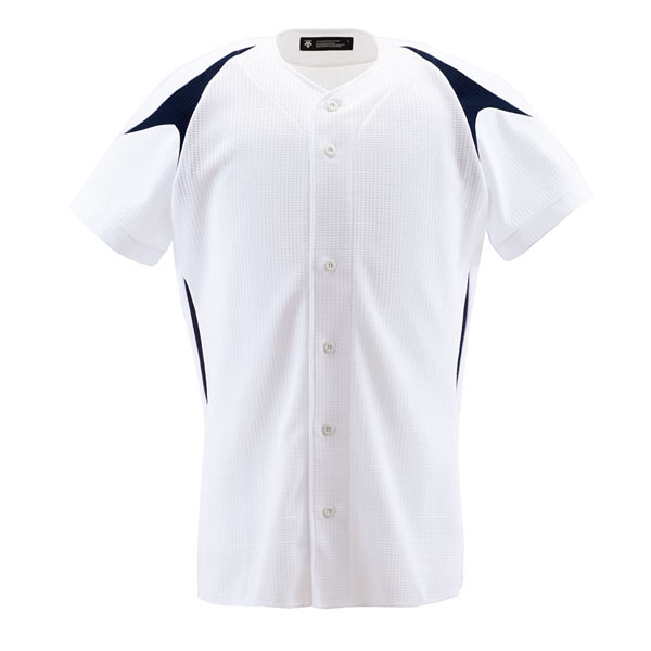 DESCENTE デサント 高品質 野球 ユニフォーム 激安通販 練習着 カラーコンビネーションシャツ フルオープン ネイビー SWNV メンズ {M} DB1013 Sホワイト