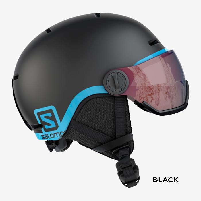 サロモン(SALOMON)スキー、スノーボード ジュニア用ヘルメット 【GROM VISOR】グロムバイザー ニューモデルサイズ調整機能ダイヤル付、お子様の成長に合わせて。バイザー付きでゴーグルいらず。
