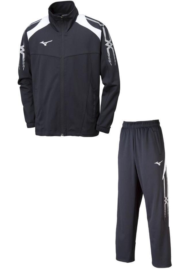 ミズノ【MIZUNO】ジュニアトレーニングウェア トレーニングジャージウォームアップシャツ+パンツ 上下セットブラック×シルバー