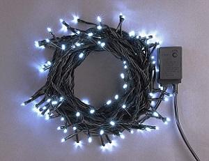 イルミネーション LEDライト100球連結専用/電源部別売り LNR100W 白 ブラックコード 防水規格IPX4 100V コネクター連結可