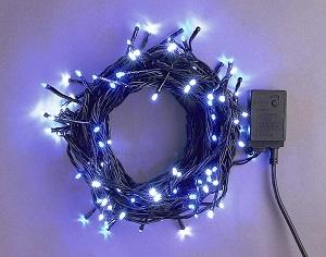 イルミネーション LEDライト100球連結専用/電源部別売り LNR100WB 白・青 ブラックコード 防水規格IPX4 100V コネクター連結可