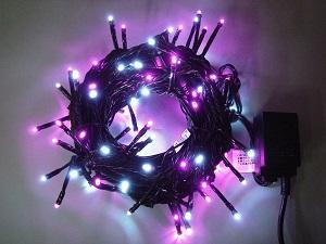 イルミネーション LEDライト100球連結専用/電源部別売り LPR100WP 白・ピンク ブラックコード 防水規格IPX4 100V コネクター連結可