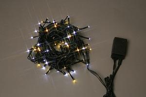 イルミネーション LEDライト100球連結専用/電源部別売り LPR100GDW ハニーゴールド・白 ブラックコード 防水規格IPX4 100V コネクター連結可