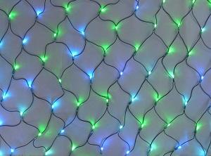 イルミネーション ミルキーウェイネットライト/電源部別売り 2C180YGB2 黄緑・青 ブラックコード防水規格IPX4 100V 自動点滅 コネクター連結可